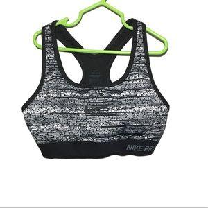 Nike Pro Black & White Sports Bra Size Small
